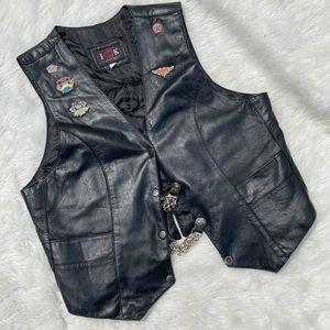 Ladies XL Leather Vest W/ Harley Davidson Patch